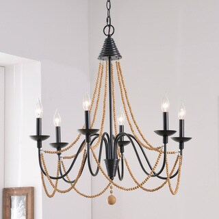 "Design Craft Aubrey 26.5"" Oil Rubbed Bronze 6 Light Chandelier"