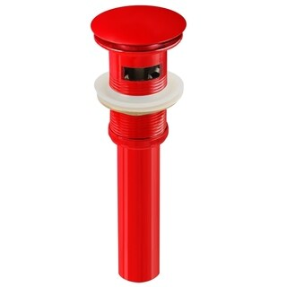2.6-in. W Brass Bathroom Sink Drain With Overflow In Red