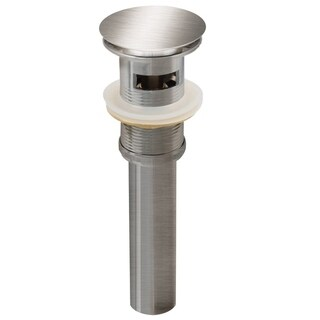2.6-in. W Brass Bathroom Sink Drain With Overflow In Brushed Nickel