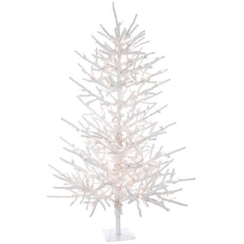 5'H Twig Flocked Tree