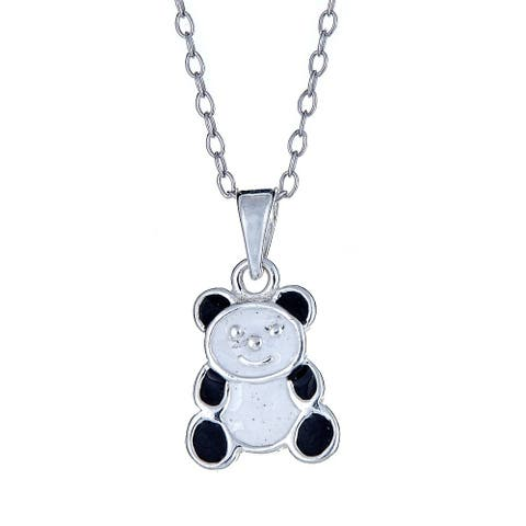 Pori Jewelers 925 sterling silver black and white panda enamel kids pendant necklace