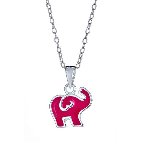 Pori Jewelers 925 sterling silver pink elephant enamel kids pendant necklace