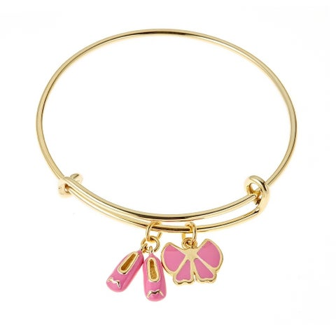 Pori Jewelers Gold-Plated 925 Sterlig Silver Light Pink Ballet Slippers and Bow Enamel Kids Bang