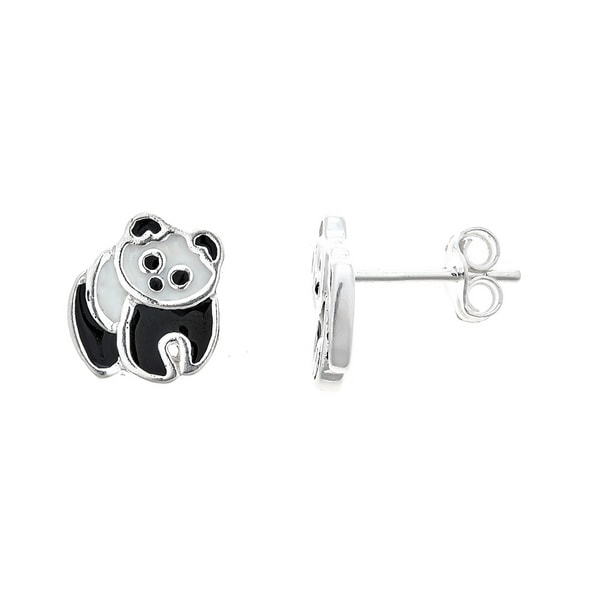 f4d33630f Pori Jewelers 925 sterling silver panda enamel kids stud earrings