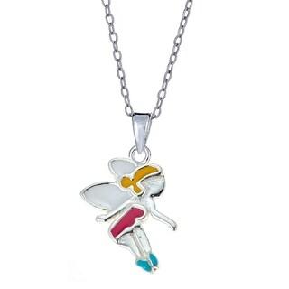Pori Jewelers Sterling Silver Fairy Tale Enamel Kid Charm Pendant Necklace