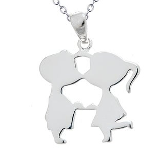 Pori Jewelers 925 sterling silver boy & Girl kiss kids pendant necklace