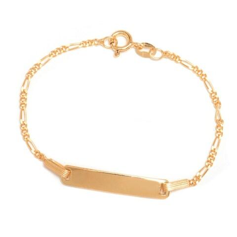 Pori Jewelers 18K Gold ptd 925 sterling silver Figaro Chain Kid ID bracelet