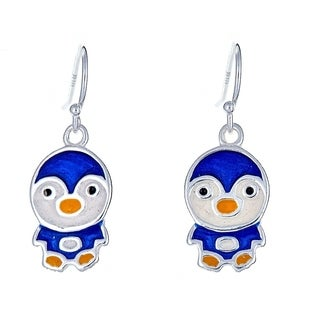 Pori Jewelers 925 sterling silver blue penguin enamel kids fishhook earrings