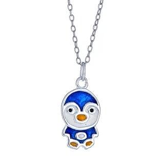 Pori Jewelers 925 sterling silver blue penguin enamel kids pendant necklace
