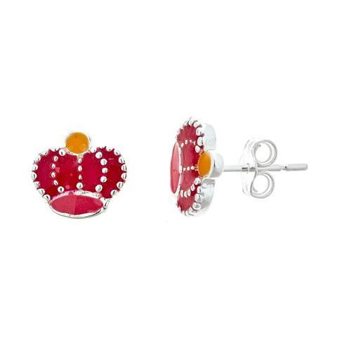 Pori Jewelers 925 sterling silver red enamel queen crown kids stud earrings