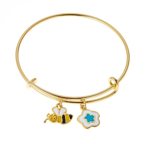 Pori Jewelers Gold-Plated 925 Sterling Silver Multi Color Flower and Bumble Bee Enamel Kids Bang