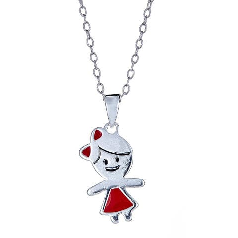 Pori Jewelers 925 sterling silver red enamel girl kids pendant necklace