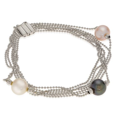 "PearLustre by Imperial 7"" Multi-strand SS Chain with FW Pearl Bracelet"