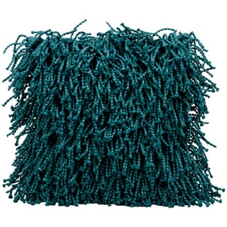 Mina Victory Skinny Fugga Shag Teal Throw Pillow (20-Inch X 20-Inch)