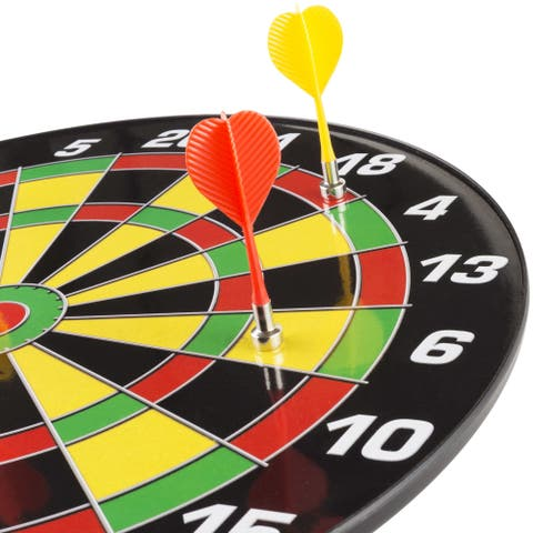 Magnetic Dart Board Set with 16 inch Board, 6 Colorful Darts and Built In Hanging Hook - by Hey! Play! - Yellow/Red