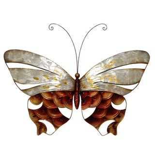 Wall Butterfly With Pearl And Copper Scaling
