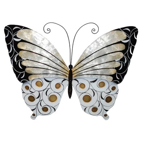 Handmade Wall Butterfly with Black Pearl and Gold (Philippines)