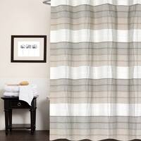 Hellen 100 percent Cotton Striped Shower Curtain 70 inches x 72 inches (Tan)
