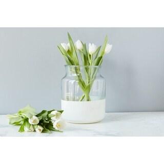 White Colorblock Mason Jar, Small