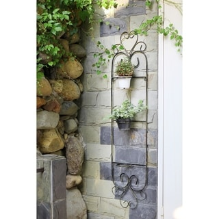 58 in. 3 Pot Plant Cast Iron Wall Planter Décor