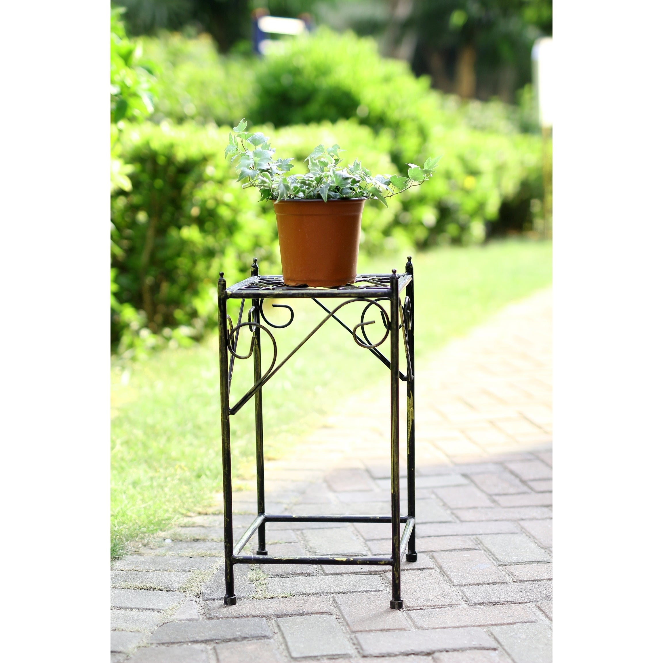 20 in Medium Lattice Square Cast Iron Plant Stand, Black ...