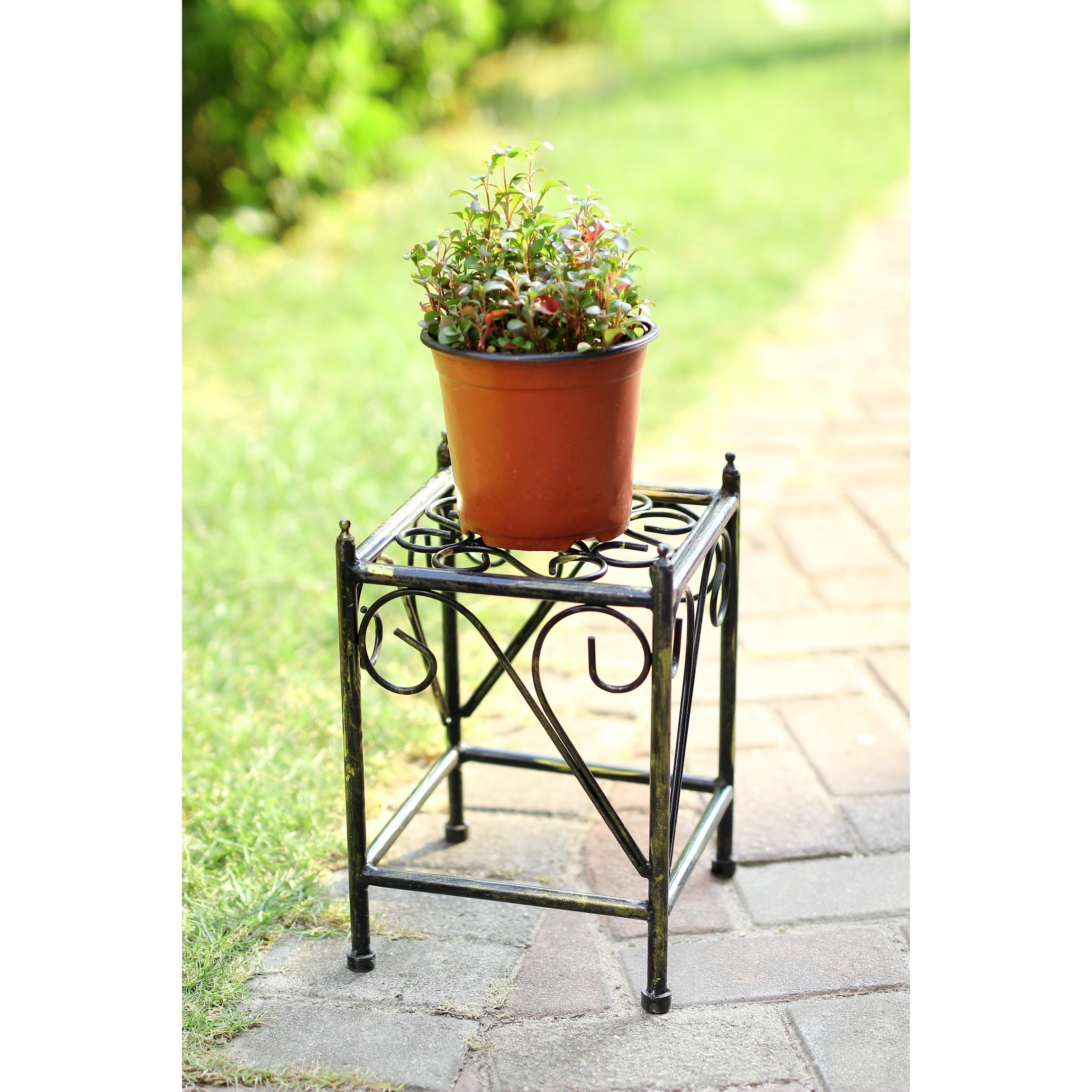 13 in Small Lattice Square Cast Iron Plant Stand, Black (...