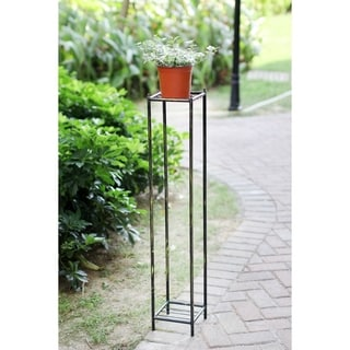 40 in. Grey Stone 2 Teir Large Square Cast Iron Plant Stand