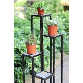 47.25 in. 4 Tier Grey Stone Cast Iron Plant Stand
