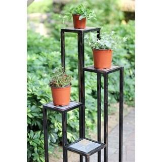 4 Tier Grey Stone Cast Iron Plant Stand