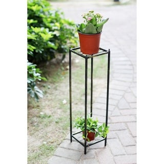 28.5 in. Gray Stone Slab 2 Tier Medium Square Cast Iron Plant Stand