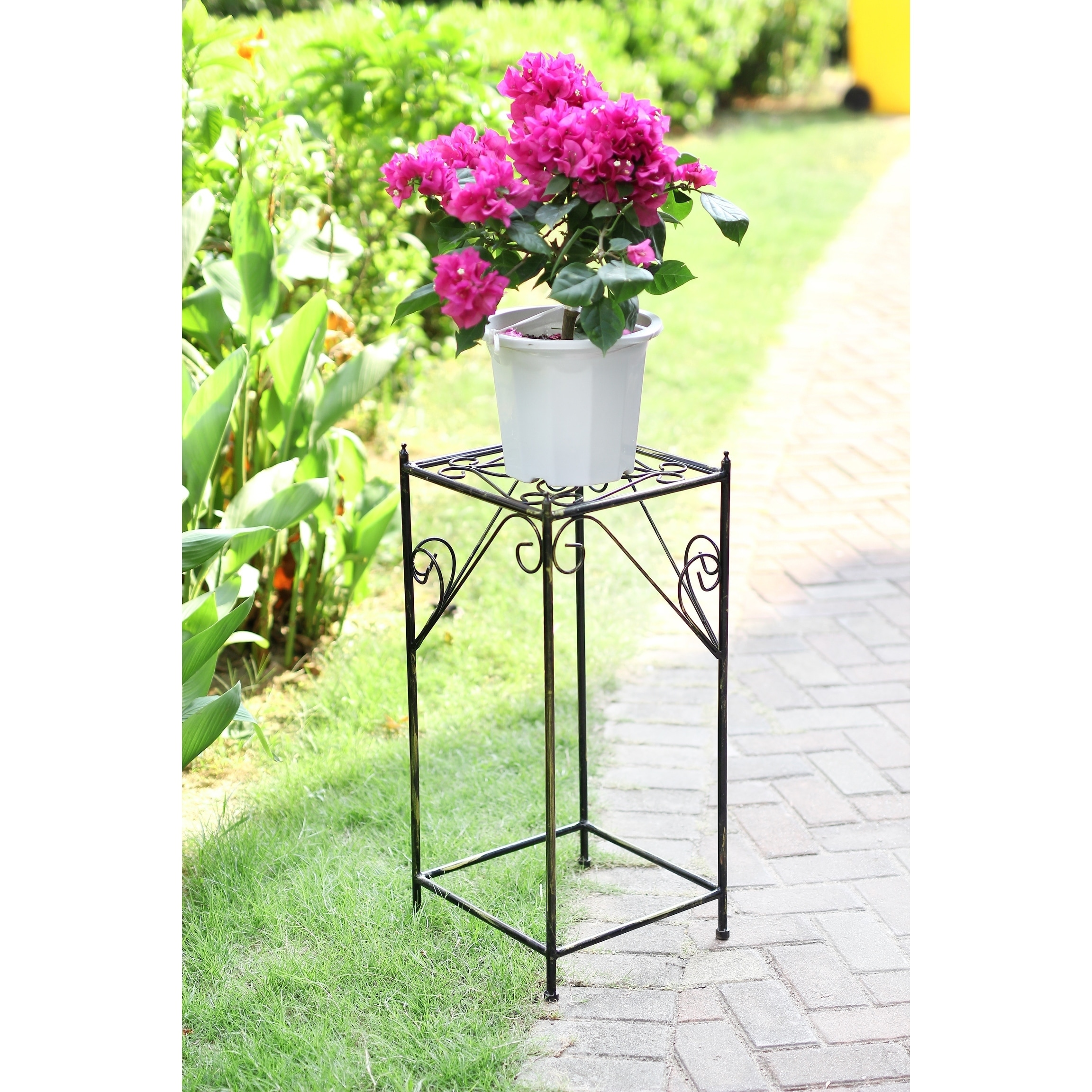 28 in Large Lattice Square Cast Iron Plant Stand, Black (...