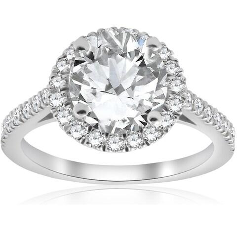 Bliss 14k White Gold 2 3/8ct ct TDW Halo Diamond Clarity Enhanced & Eco Friendly Lab Grown Ring (G-H/VS2-SI1)