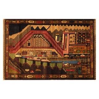 Handmade Herat Oriental Afghan Hand-knotted Wool War Rug (Afghanistan) - 2'11 x 4'8