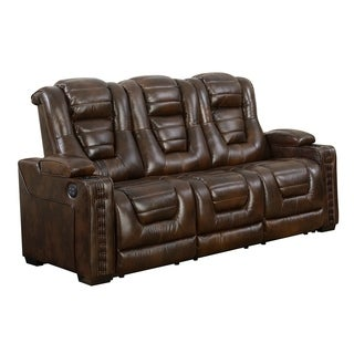 Bowman Leather Dual Power Recliner Sofa With Articulating Headrest