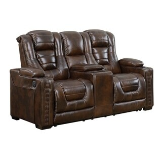 Bowman Leather Dual Power Recliner Loveseat with Console