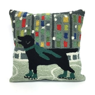 Holiday Ice Dog Green Pillow