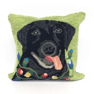 Season's Greetings Green Pillow