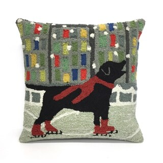 Holiday Ice Dog Red Pillow
