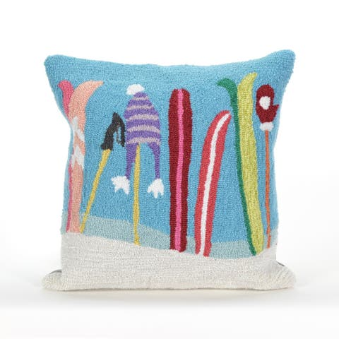Liora Manne Gone Skiing Blue Pillow