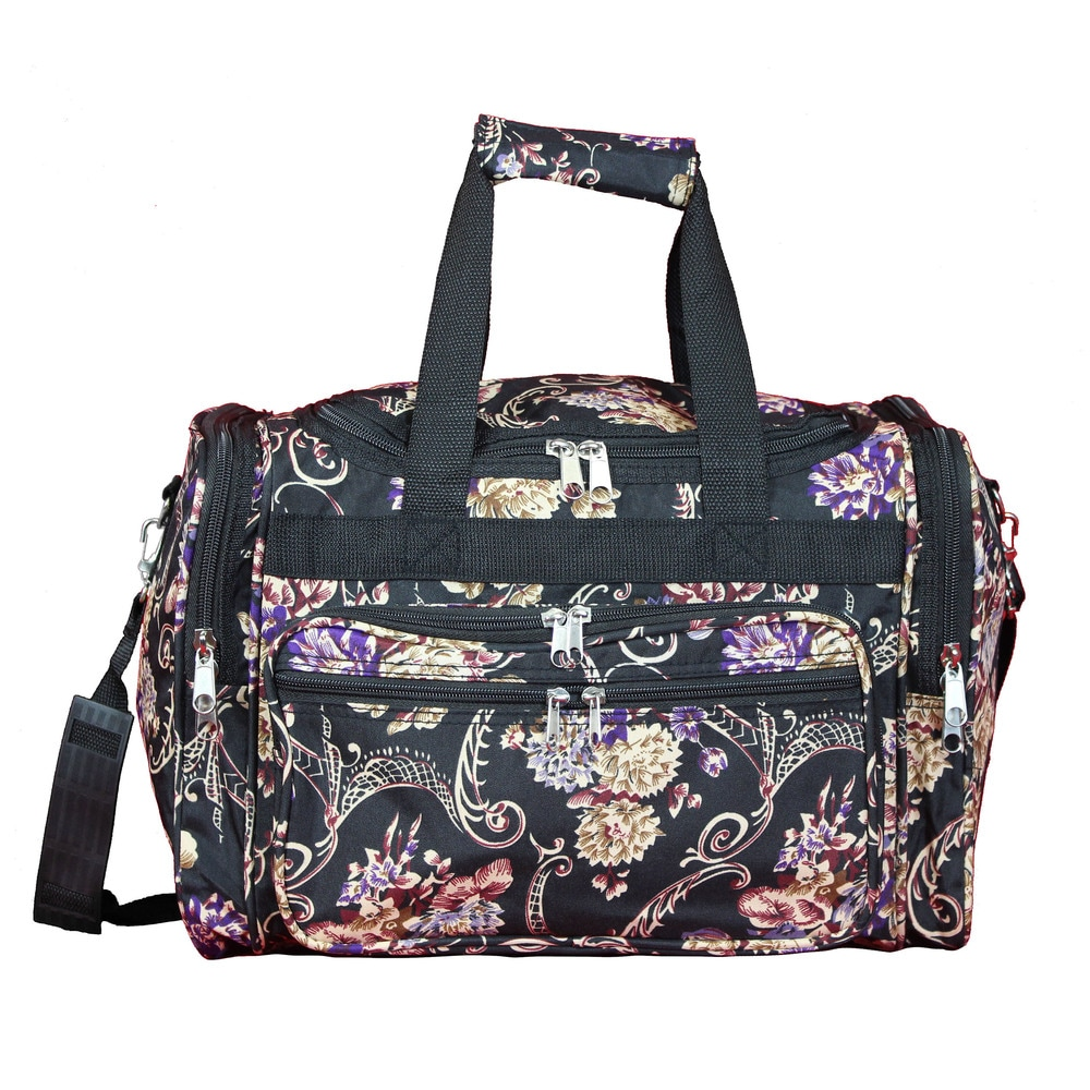 Duffel Bag Flower Blue White, 16 Inch