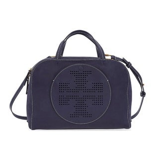 Tory Burch Perforated-Logo Tory Navy Suede Satchel Handbag