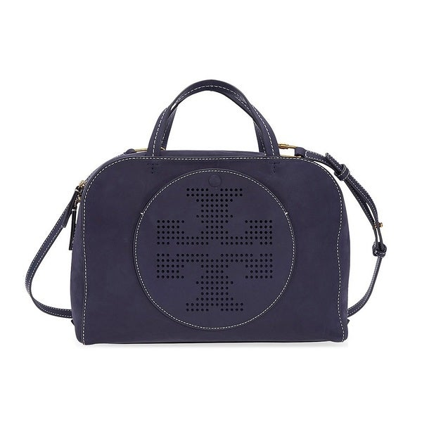 8afdaf8988e2 Shop Tory Burch Perforated-Logo Tory Navy Suede Satchel Handbag - On ...