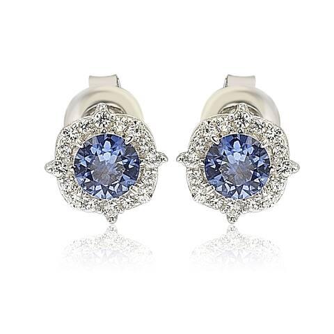 Suzy L. Sterling Silver Sapphire 0.66cttw Halo Stud Earrings - Blue