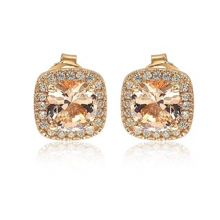 Suzy Levian Rose Sterling Silver Cushion Cut Morganite Cubic Zirconia Halo Studs - Pink