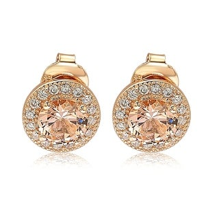 Suzy Levian Rose Sterling Silver Round Cut Morganite Cubic Zirconia Halo Studs - Pink