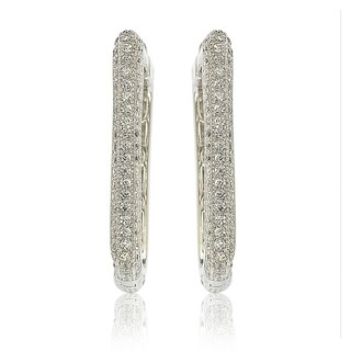 Suzy Levian Sterling Silver Pave Cubic Zirconia Modern Square Hoops - White