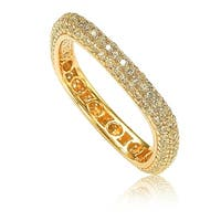 Suzy Levian Golden Sterling Silver Cubic Zirconia Modern Pave Square Eternity Band - Yellow
