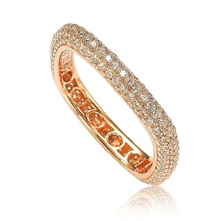 Suzy Levian Rosed Sterling Silver Cubic Zirconia Modern Pave Square Eternity Band - Pink