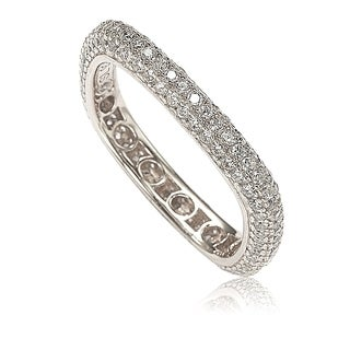 Suzy Levian Sterling Silver Cubic Zirconia Modern Pave Square Eternity Band - White