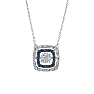 14k White Gold 3/4ct White Dancing Diamonds with Blue Diamond Halo Frame Pendant https://ak1.ostkcdn.com/images/products/18802607/P24870367.jpg?impolicy=medium